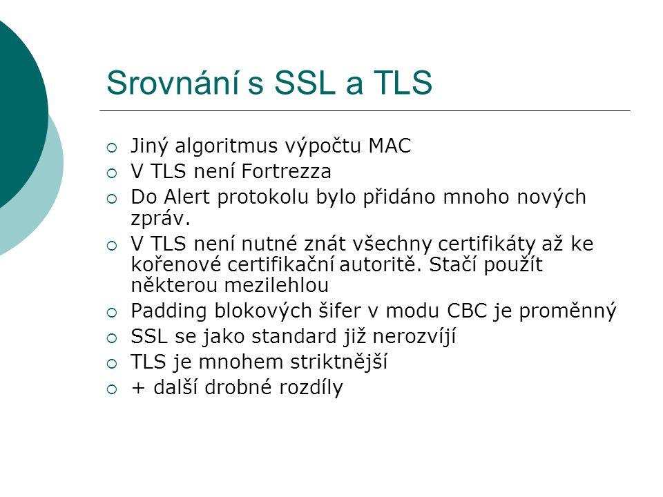 Srovnání s SSL a TLS  Jiný algoritmus výpočtu MAC  V TLS není Fortrezza  Do Alert protokolu bylo přidáno mnoho nových zpráv.