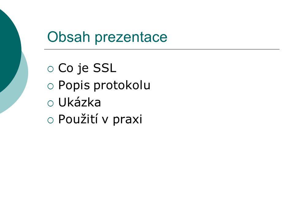 Obsah prezentace  Co je SSL  Popis protokolu  Ukázka  Použití v praxi