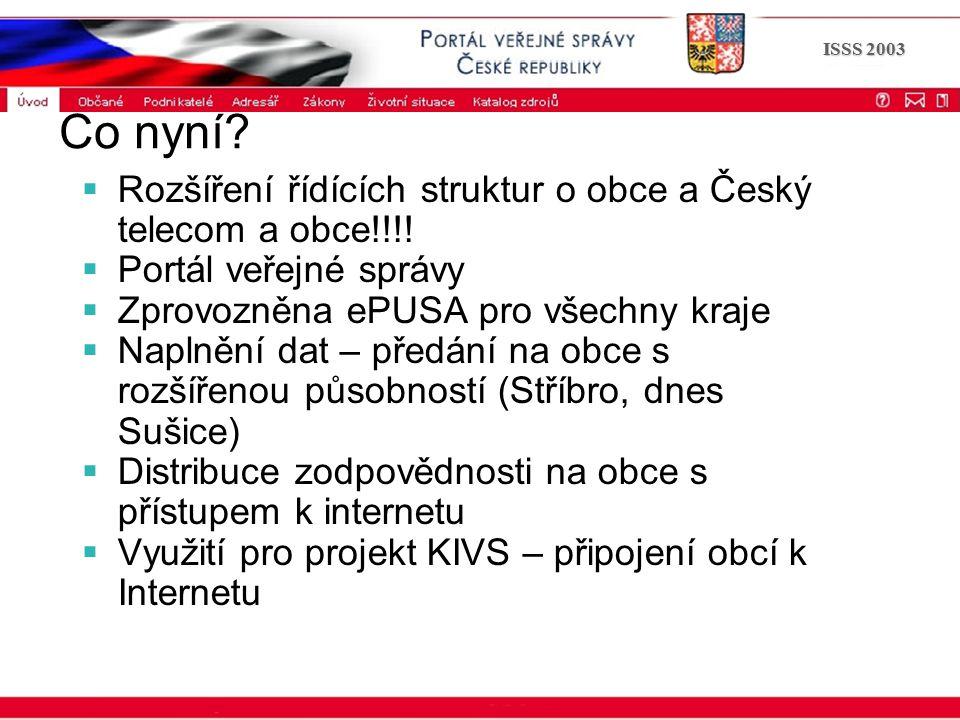 Portál veřejné správy © 2002 IBM Corporation ISSS 2003 Co nyní?  Rozšíření řídících struktur o obce a Český telecom a obce!!!!  Portál veřejné správ