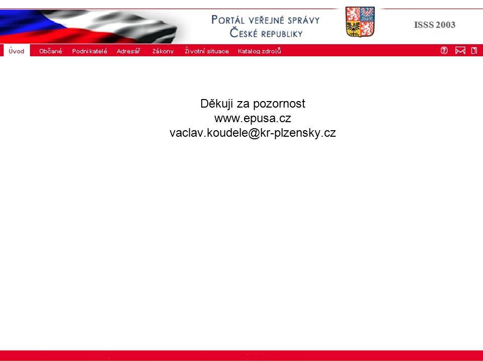 Portál veřejné správy © 2002 IBM Corporation ISSS 2003 Děkuji za pozornost www.epusa.cz vaclav.koudele@kr-plzensky.cz