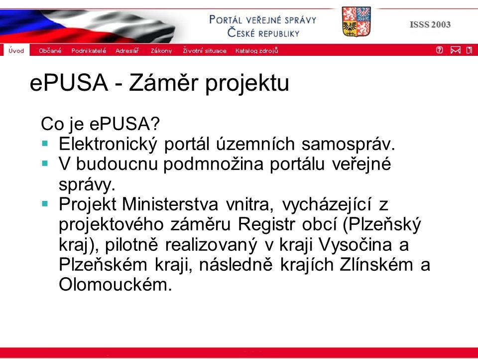 Portál veřejné správy © 2002 IBM Corporation ISSS 2003 ePUSA - Záměr projektu Co je ePUSA?  Elektronický portál územních samospráv.  V budoucnu podm