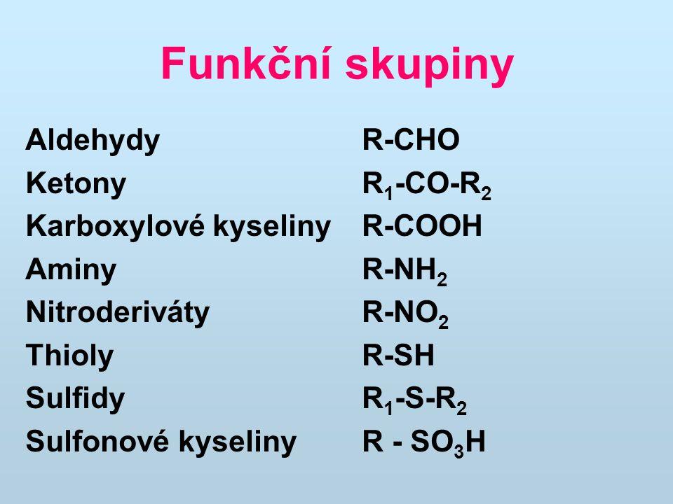 Funkční skupiny Aldehydy R-CHO Ketony R 1 -CO-R 2 Karboxylové kyseliny R-COOH AminyR-NH 2 Nitroderiváty R-NO 2 Thioly R-SH Sulfidy R 1 -S-R 2 Sulfonov