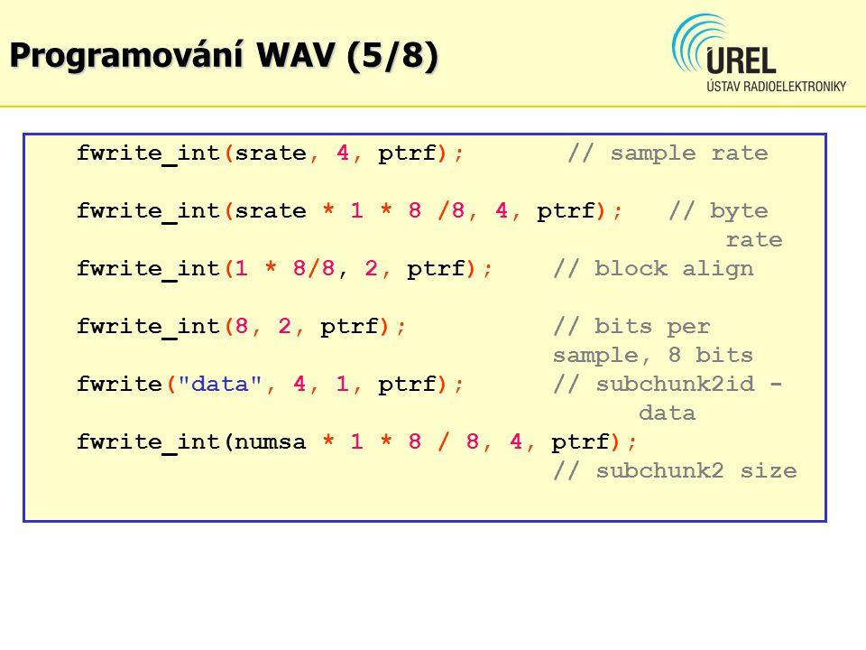 Programování WAV (5/8) fwrite_int(srate, 4, ptrf); // sample rate fwrite_int(srate * 1 * 8 /8, 4, ptrf); // byte rate fwrite_int(1 * 8/8, 2, ptrf); //