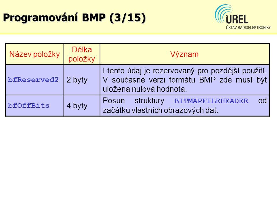Programování BMP (3/15) Název položky Délka položky Význam bfReserved2 2 byty I tento údaj je rezervovaný pro pozdější použití. V současné verzi formá