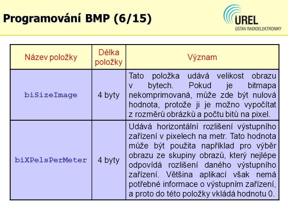 Programování BMP (6/15) Název položky Délka položky Význam biSizeImage 4 byty Tato položka udává velikost obrazu v bytech. Pokud je bitmapa nekomprimo