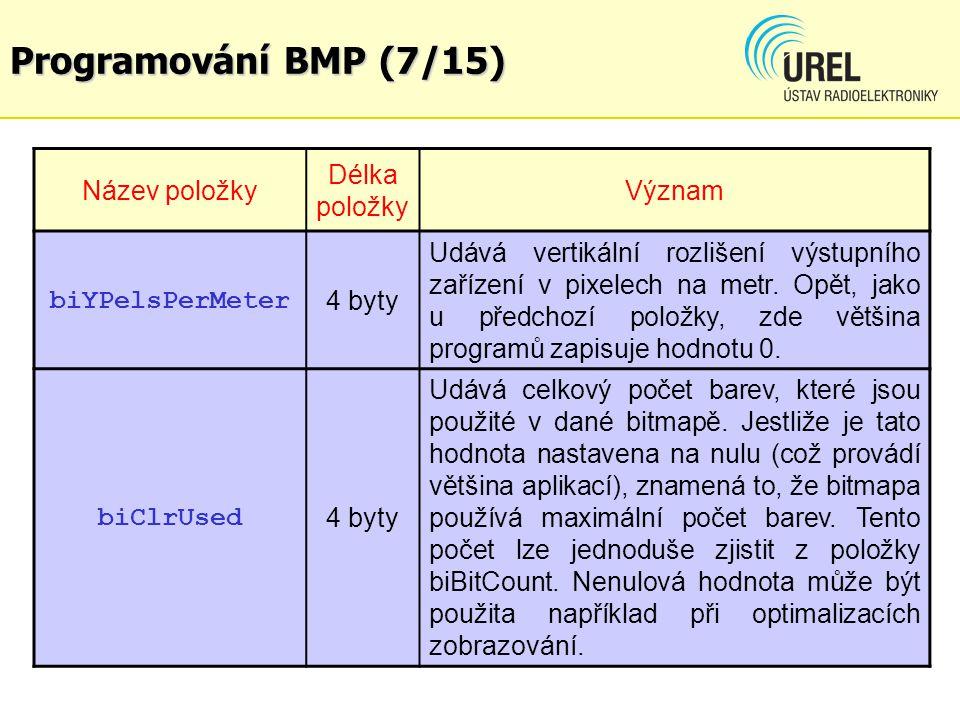 Programování BMP (7/15) Název položky Délka položky Význam biYPelsPerMeter 4 byty Udává vertikální rozlišení výstupního zařízení v pixelech na metr.