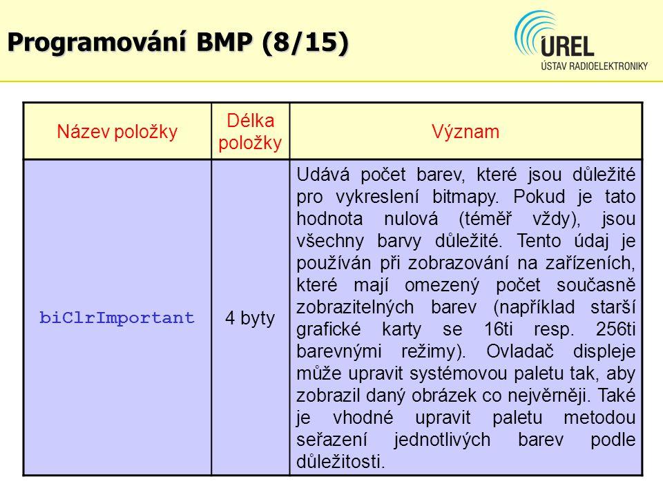 Programování BMP (8/15) Název položky Délka položky Význam biClrImportant 4 byty Udává počet barev, které jsou důležité pro vykreslení bitmapy. Pokud