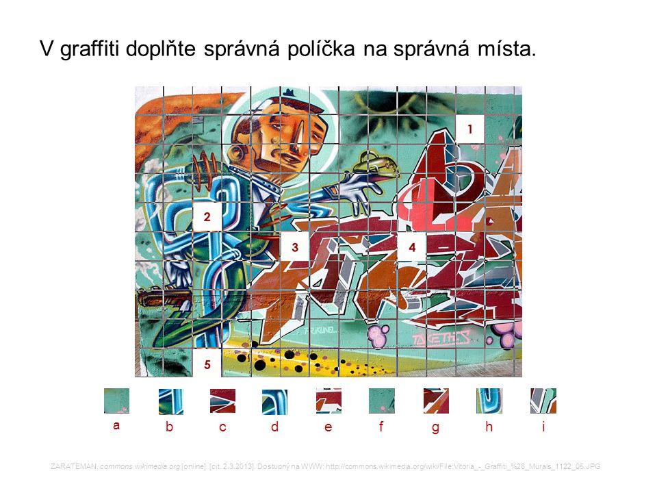 V graffiti doplňte správná políčka na správná místa. ZARATEMAN. commons.wikimedia.org [online]. [cit. 2.3.2013]. Dostupný na WWW: http://commons.wikim