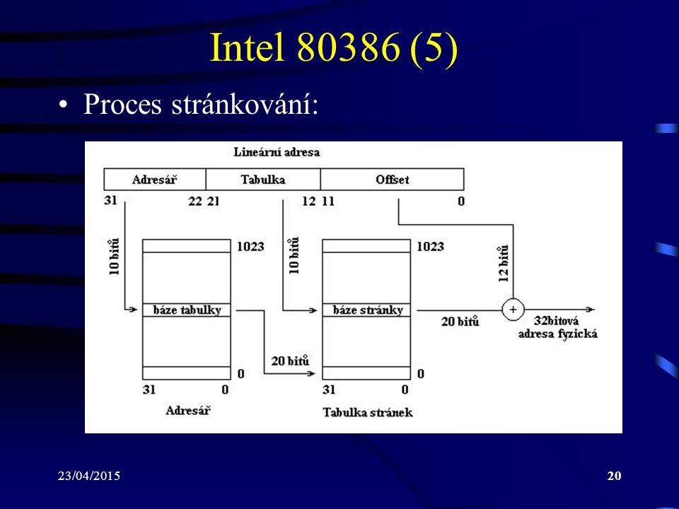 23/04/201520 Intel 80386 (5) Proces stránkování: