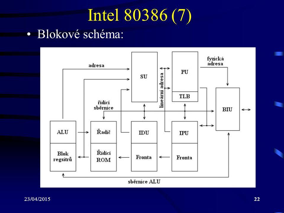 23/04/201522 Intel 80386 (7) Blokové schéma:
