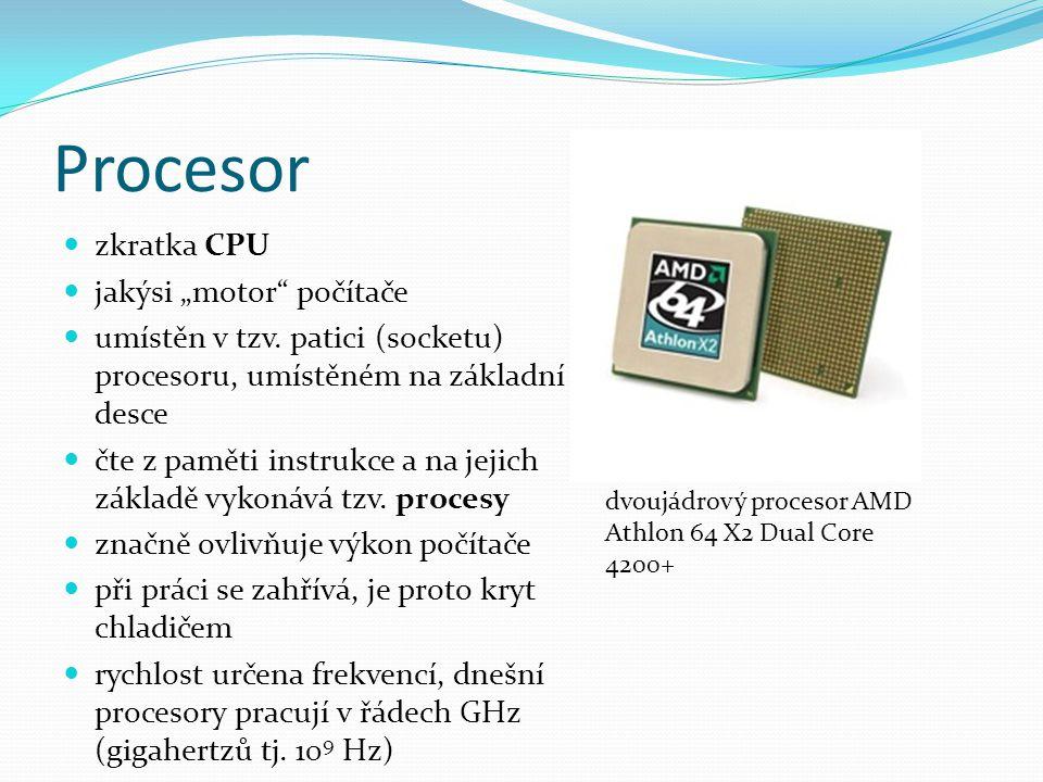 """Součásti procesoru strojový kód – posloupnost instrukcí, kterou procesor vykonává řadič – řídí činnost procesoru, načítá a dekóduje informace sada registrů – k uchování vstupních hodnot a mezivýsledků aritmeticko-logická jednotka (ALU) – """"výkonný oddíl procesoru, zpracovává informace"""