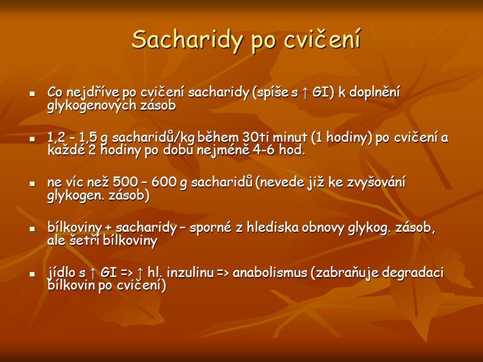 Sacharidy po cvičení Co nejdříve po cvičení sacharidy (spíše s ↑ GI) k doplnění glykogenových zásob Co nejdříve po cvičení sacharidy (spíše s ↑ GI) k doplnění glykogenových zásob 1,2 - 1,5 g sacharidů/kg během 30ti minut (1 hodiny) po cvičení a každé 2 hodiny po dobu nejméně 4-6 hod.