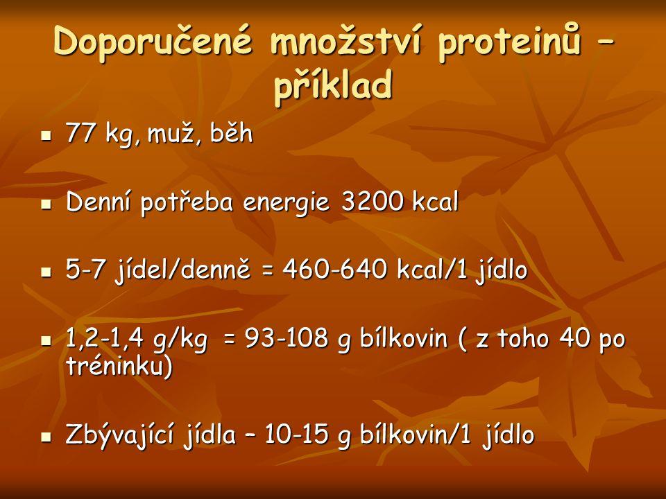 Doporučené množství proteinů – příklad 77 kg, muž, běh 77 kg, muž, běh Denní potřeba energie 3200 kcal Denní potřeba energie 3200 kcal 5-7 jídel/denně = 460-640 kcal/1 jídlo 5-7 jídel/denně = 460-640 kcal/1 jídlo 1,2-1,4 g/kg = 93-108 g bílkovin ( z toho 40 po tréninku) 1,2-1,4 g/kg = 93-108 g bílkovin ( z toho 40 po tréninku) Zbývající jídla – 10-15 g bílkovin/1 jídlo Zbývající jídla – 10-15 g bílkovin/1 jídlo