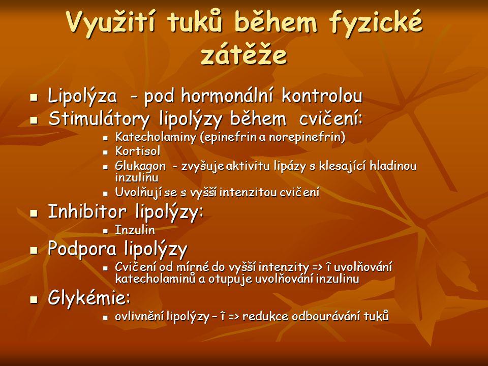 Využití tuků během fyzické zátěže Lipolýza - pod hormonální kontrolou Lipolýza - pod hormonální kontrolou Stimulátory lipolýzy během cvičení: Stimulátory lipolýzy během cvičení: Katecholaminy (epinefrin a norepinefrin) Katecholaminy (epinefrin a norepinefrin) Kortisol Kortisol Glukagon - zvyšuje aktivitu lipázy s klesající hladinou inzulinu Glukagon - zvyšuje aktivitu lipázy s klesající hladinou inzulinu Uvolňují se s vyšší intenzitou cvičení Uvolňují se s vyšší intenzitou cvičení Inhibitor lipolýzy: Inhibitor lipolýzy: Inzulin Inzulin Podpora lipolýzy Podpora lipolýzy Cvičení od mírné do vyšší intenzity => î uvolňování katecholaminů a otupuje uvolňování inzulinu Cvičení od mírné do vyšší intenzity => î uvolňování katecholaminů a otupuje uvolňování inzulinu Glykémie: Glykémie: ovlivnění lipolýzy – î => redukce odbourávání tuků ovlivnění lipolýzy – î => redukce odbourávání tuků