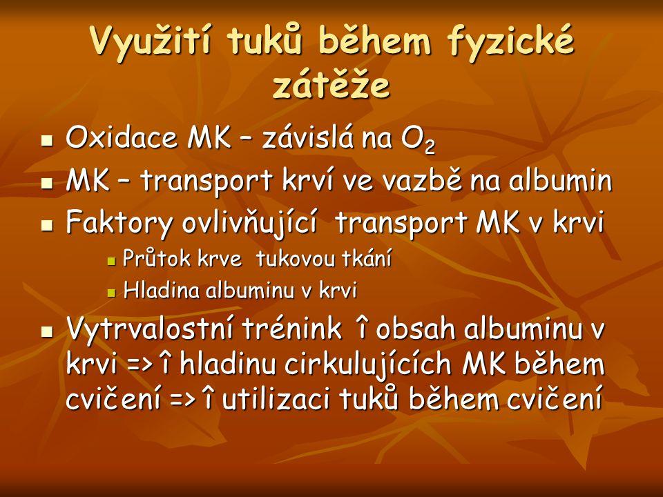Využití tuků během fyzické zátěže Oxidace MK – závislá na O 2 Oxidace MK – závislá na O 2 MK – transport krví ve vazbě na albumin MK – transport krví ve vazbě na albumin Faktory ovlivňující transport MK v krvi Faktory ovlivňující transport MK v krvi Průtok krve tukovou tkání Průtok krve tukovou tkání Hladina albuminu v krvi Hladina albuminu v krvi Vytrvalostní trénink î obsah albuminu v krvi => î hladinu cirkulujících MK během cvičení => î utilizaci tuků během cvičení Vytrvalostní trénink î obsah albuminu v krvi => î hladinu cirkulujících MK během cvičení => î utilizaci tuků během cvičení