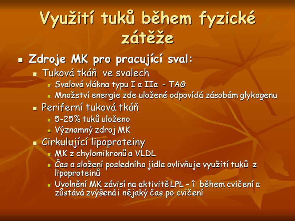 Využití tuků během fyzické zátěže Zdroje MK pro pracující sval: Zdroje MK pro pracující sval: Tuková tkáň ve svalech Tuková tkáň ve svalech Svalová vlákna typu I a IIa - TAG Svalová vlákna typu I a IIa - TAG Množství energie zde uložené odpovídá zásobám glykogenu Množství energie zde uložené odpovídá zásobám glykogenu Periferní tuková tkáň Periferní tuková tkáň 5-25% tuků uloženo 5-25% tuků uloženo Významný zdroj MK Významný zdroj MK Cirkulující lipoproteiny Cirkulující lipoproteiny MK z chylomikronů a VLDL MK z chylomikronů a VLDL Čas a složení posledního jídla ovlivňuje využití tuků z lipoproteinů Čas a složení posledního jídla ovlivňuje využití tuků z lipoproteinů Uvolnění MK závisí na aktivitě LPL – î během cvičení a zůstává zvýšená i nějaký čas po cvičení Uvolnění MK závisí na aktivitě LPL – î během cvičení a zůstává zvýšená i nějaký čas po cvičení