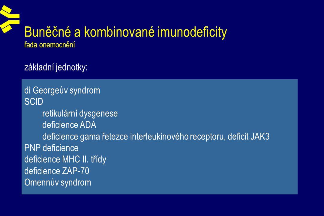Buněčné a kombinované imunodeficity řada onemocnění základní jednotky: di Georgeův syndrom SCID retikulární dysgenese deficience ADA deficience gama řetezce interleukinového receptoru, deficit JAK3 PNP deficience deficience MHC II.