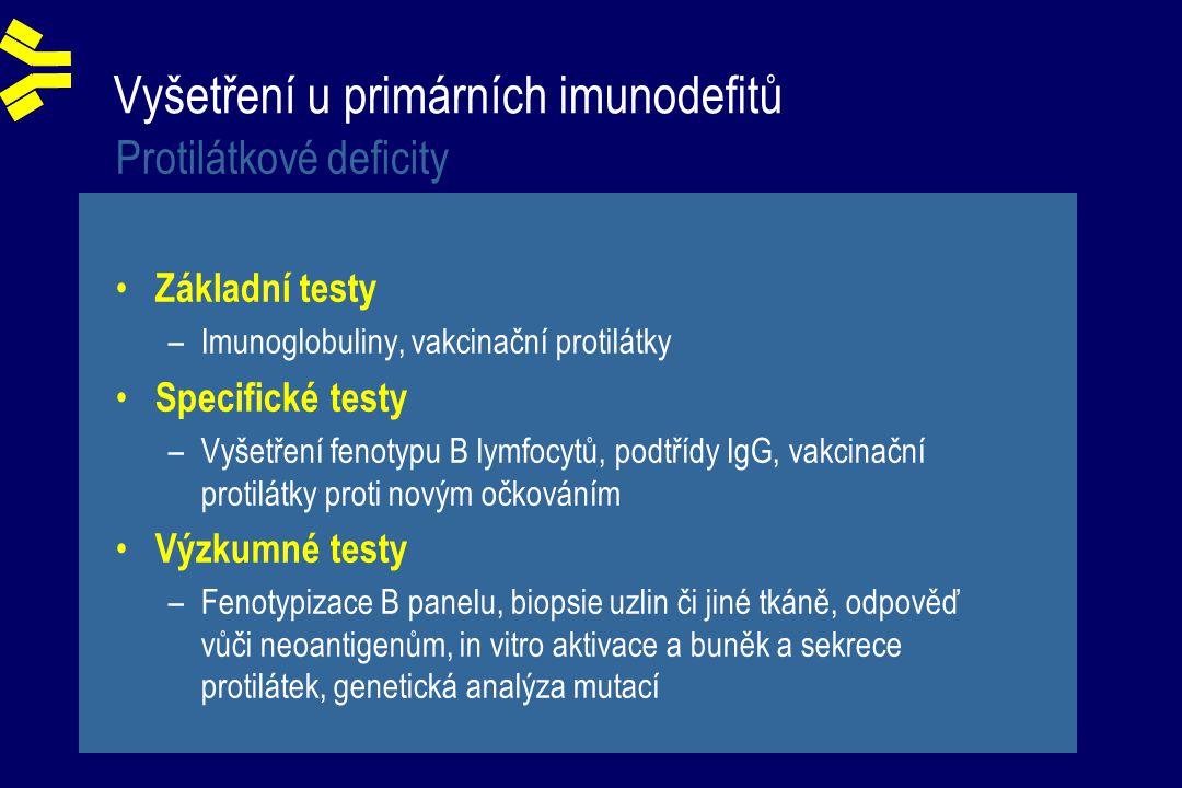 Vyšetření u primárních imunodefitů Protilátkové deficity Základní testy –Imunoglobuliny, vakcinační protilátky Specifické testy –Vyšetření fenotypu B lymfocytů, podtřídy IgG, vakcinační protilátky proti novým očkováním Výzkumné testy –Fenotypizace B panelu, biopsie uzlin či jiné tkáně, odpověď vůči neoantigenům, in vitro aktivace a buněk a sekrece protilátek, genetická analýza mutací