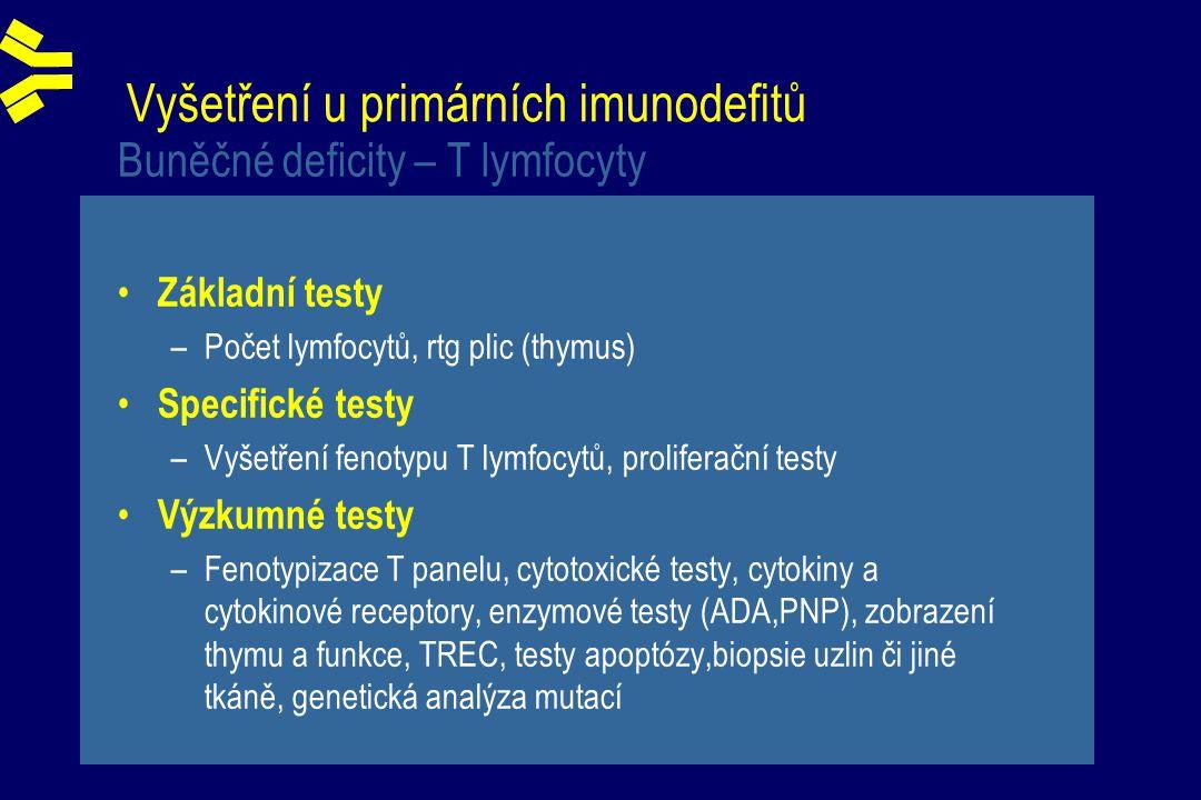 Vyšetření u primárních imunodefitů Buněčné deficity – T lymfocyty Základní testy –Počet lymfocytů, rtg plic (thymus) Specifické testy –Vyšetření fenotypu T lymfocytů, proliferační testy Výzkumné testy –Fenotypizace T panelu, cytotoxické testy, cytokiny a cytokinové receptory, enzymové testy (ADA,PNP), zobrazení thymu a funkce, TREC, testy apoptózy,biopsie uzlin či jiné tkáně, genetická analýza mutací