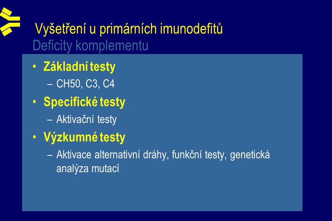 Vyšetření u primárních imunodefitů Deficity komplementu Základní testy –CH50, C3, C4 Specifické testy –Aktivační testy Výzkumné testy –Aktivace alternativní dráhy, funkční testy, genetická analýza mutací