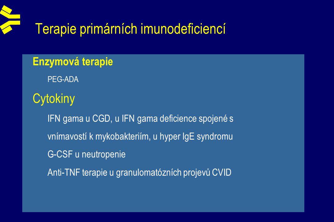 Enzymová terapie PEG-ADA Cytokiny IFN gama u CGD, u IFN gama deficience spojené s vnímavostí k mykobakteriím, u hyper IgE syndromu G-CSF u neutropenie Anti-TNF terapie u granulomatózních projevů CVID