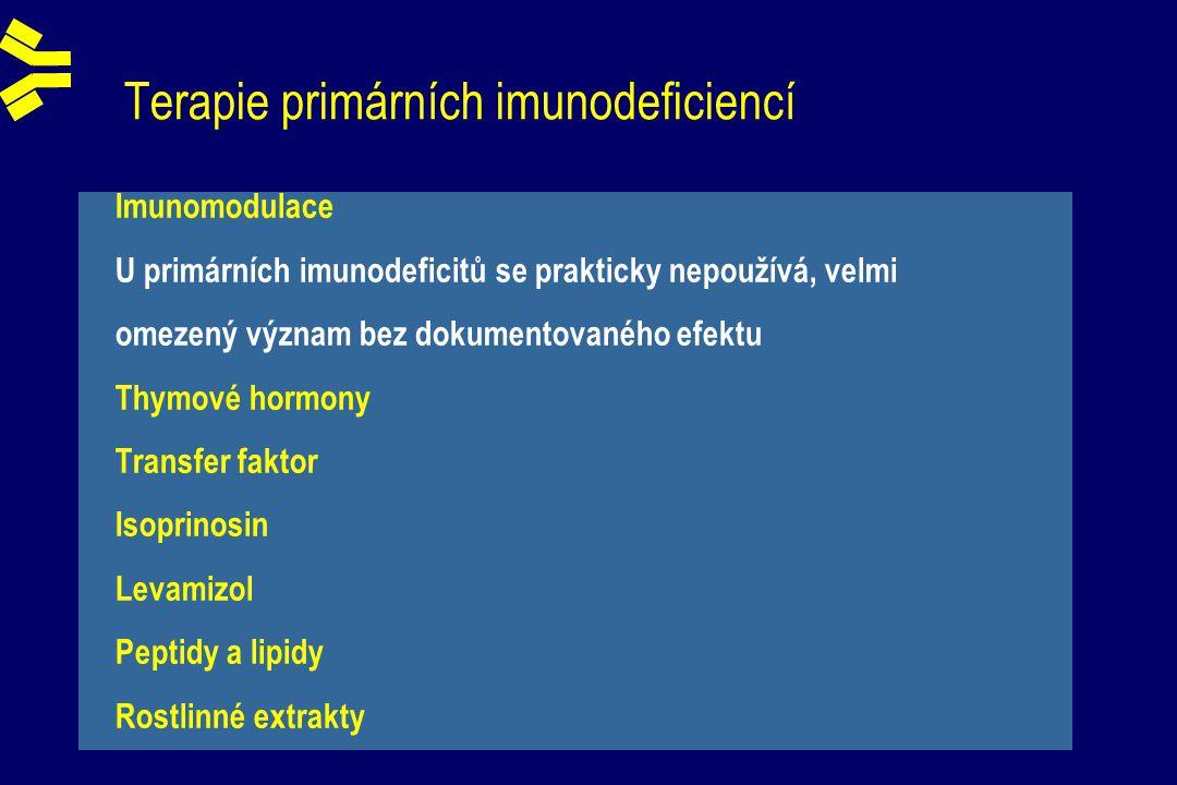 Terapie primárních imunodeficiencí Imunomodulace U primárních imunodeficitů se prakticky nepoužívá, velmi omezený význam bez dokumentovaného efektu Thymové hormony Transfer faktor Isoprinosin Levamizol Peptidy a lipidy Rostlinné extrakty