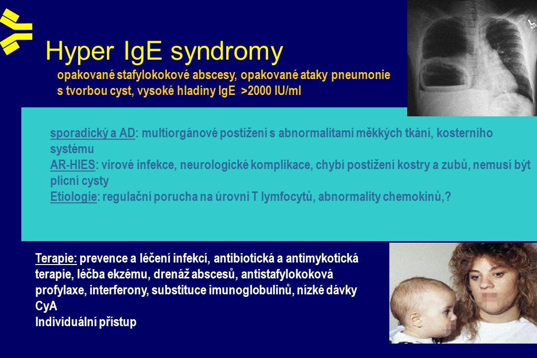 Hyper IgE syndromy sporadický a AD: multiorgánové postižení s abnormalitami měkkých tkání, kosterního systému AR-HIES: virové infekce, neurologické komplikace, chybí postižení kostry a zubů, nemusí být plicní cysty Etiologie: regulační porucha na úrovni T lymfocytů, abnormality chemokinů,.