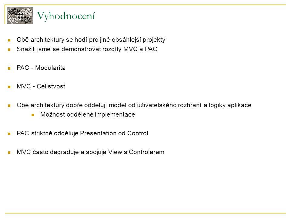 Vyhodnocení Obě architektury se hodí pro jiné obsáhlejší projekty Snažili jsme se demonstrovat rozdíly MVC a PAC PAC - Modularita MVC - Celistvost Obě architektury dobře oddělují model od uživatelského rozhraní a logiky aplikace Možnost oddělené implementace PAC striktně odděluje Presentation od Control MVC často degraduje a spojuje View s Controlerem