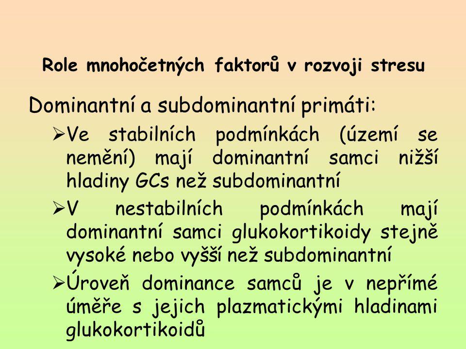 Role mnohočetných faktorů v rozvoji stresu Dominantní a subdominantní primáti:  Ve stabilních podmínkách (území se nemění) mají dominantní samci nižš