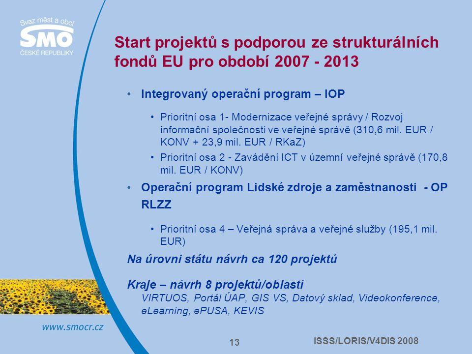 ISSS/LORIS/V4DIS 2008 13 Start projektů s podporou ze strukturálních fondů EU pro období 2007 - 2013 Integrovaný operační program – IOP Prioritní osa 1- Modernizace veřejné správy / Rozvoj informační společnosti ve veřejné správě (310,6 mil.
