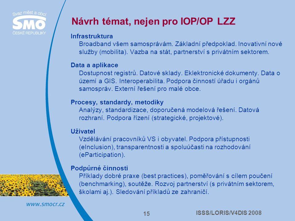 ISSS/LORIS/V4DIS 2008 15 Návrh témat, nejen pro IOP/OP LZZ Infrastruktura Broadband všem samosprávám. Základní předpoklad. Inovativní nové služby (mob