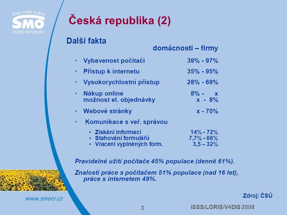 ISSS/LORIS/V4DIS 2008 3 Česká republika (2) Další fakta domácnosti – firmy Vybavenost počítači 39% - 97% Přístup k internetu35% - 95% Vysokorychlostní přístup28% - 69% Nákup online 8% - x možnost el.