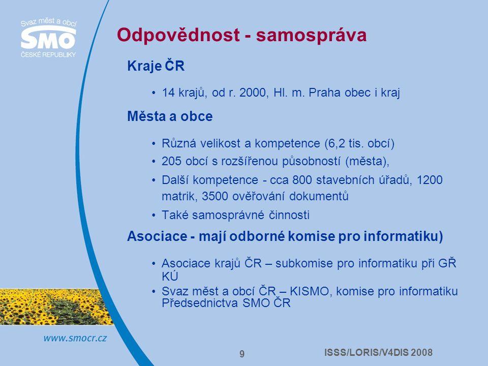 ISSS/LORIS/V4DIS 2008 9 Odpovědnost - samospráva Kraje ČR 14 krajů, od r. 2000, Hl. m. Praha obec i kraj Města a obce Různá velikost a kompetence (6,2