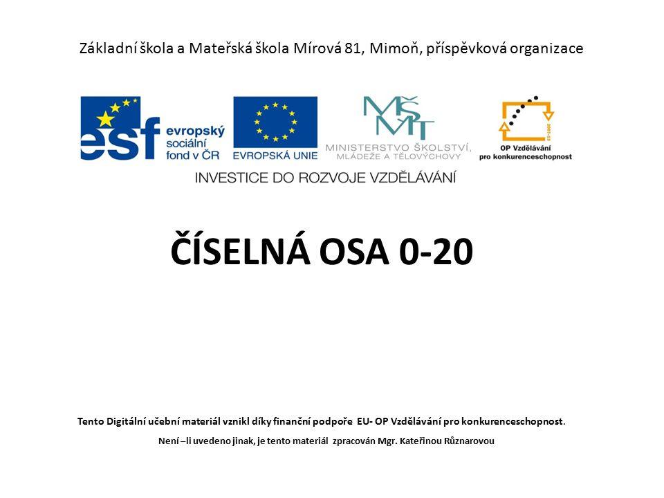 Základní škola a Mateřská škola Mírová 81, Mimoň, příspěvková organizace ČÍSELNÁ OSA 0-20 Tento Digitální učební materiál vznikl díky finanční podpoře EU- OP Vzdělávání pro konkurenceschopnost.