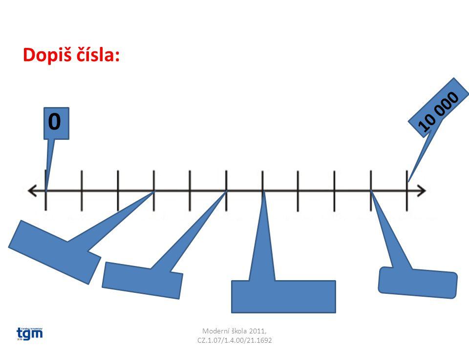 Moderní škola 2011, CZ.1.07/1.4.00/21.1692 0 10 000 Dopiš čísla: