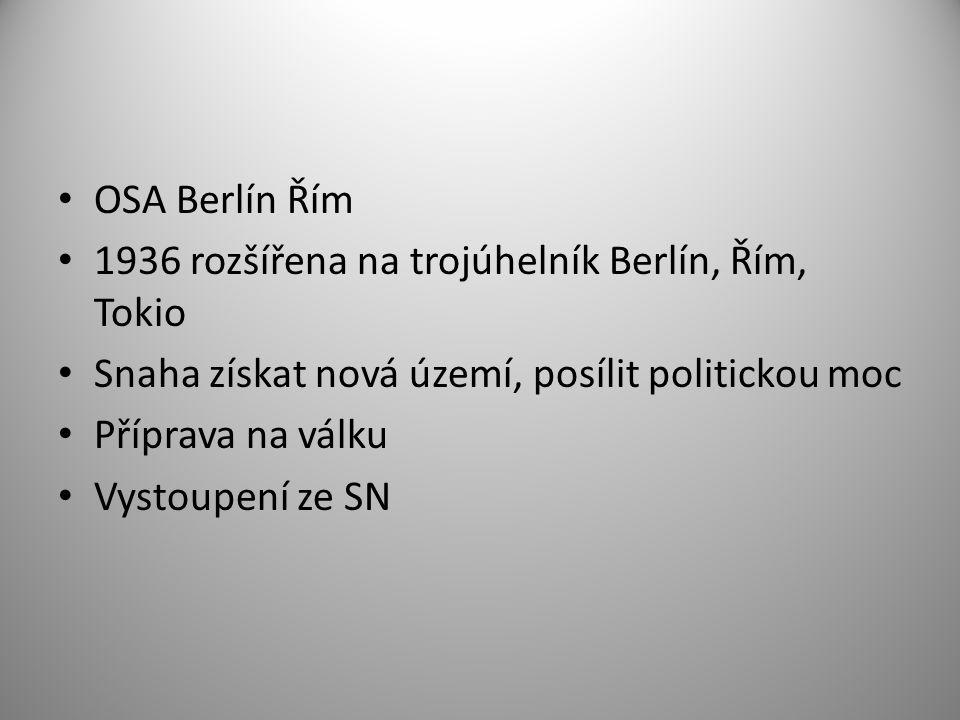 OSA Berlín Řím 1936 rozšířena na trojúhelník Berlín, Řím, Tokio Snaha získat nová území, posílit politickou moc Příprava na válku Vystoupení ze SN