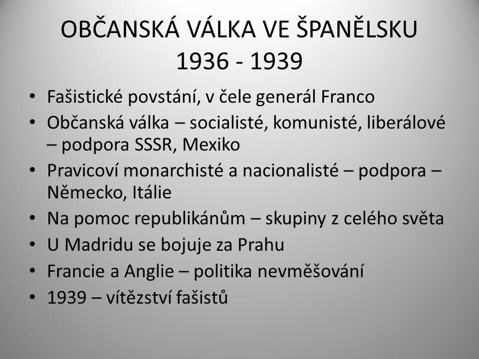 OBČANSKÁ VÁLKA VE ŠPANĚLSKU 1936 - 1939 Fašistické povstání, v čele generál Franco Občanská válka – socialisté, komunisté, liberálové – podpora SSSR,