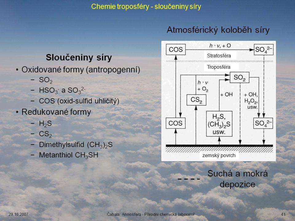 29.10.2007Čabala: Atmosféra - Přírodní chemická laboratoř41 Chemie troposféry - sloučeniny síry Atmosférický koloběh síry Suchá a mokrá depozice Sloučeniny síry Oxidované formy (antropogenní) −SO 2 −HSO 3 - a SO 3 2- −COS (oxid-sulfid uhličitý) Redukované formy −H2S−H2S −CS 2 −Dimethylsulfid (CH 3 ) 2 S −Metanthiol CH 3 SH Stratosféra Troposféra zemský povrch