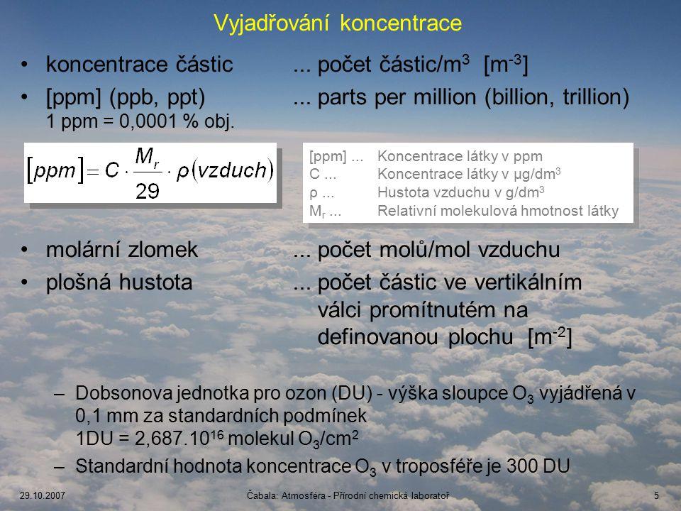 29.10.2007Čabala: Atmosféra - Přírodní chemická laboratoř6 Hypotetické rovnovážné a skutečné složení atmosféry Látka Hypotetická rovnovážná koncentrace, % Současná koncentrace, % Střední doba života N2N2 < 10 -8 781,6·10 7 r CH 4 < 10 -33 1,7·10 -4 9 r N2ON2O < 10 -18 3,1·10 -5 94 r NH 3 < 10 -33 10 -7 20 d H2H2 < 10 -33 5,3·10 -5 4 r Atmosféra s 21% O 2