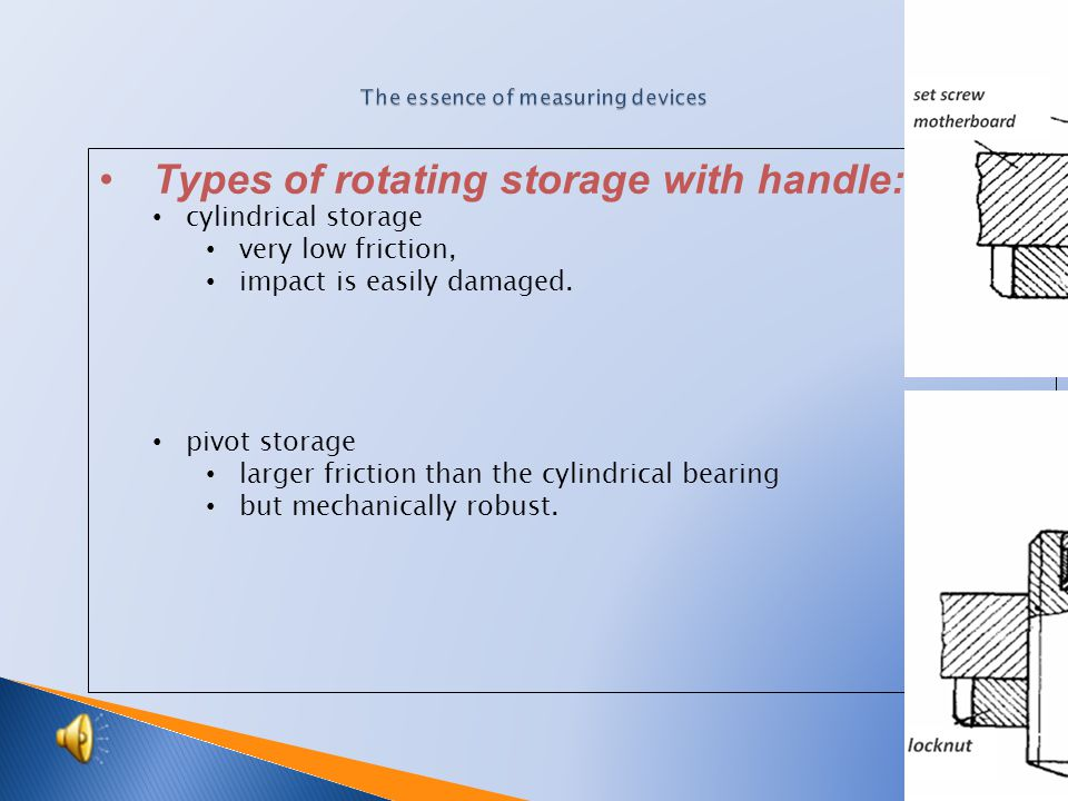 Types of rotating storage with handle : cylindrical storage very low friction, impact is easily damaged.