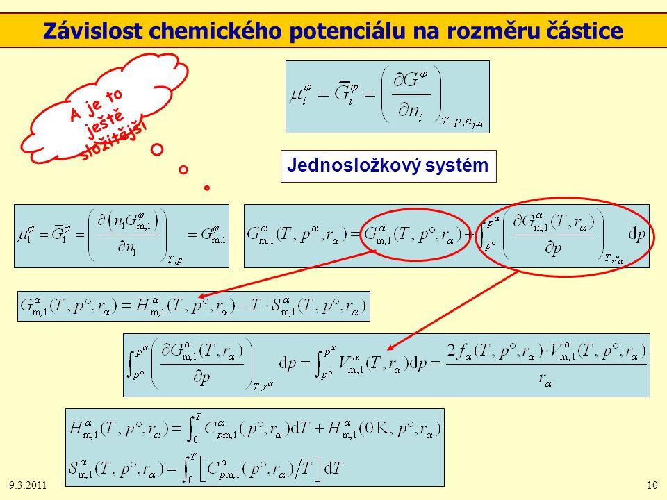 9.3.201110 Závislost chemického potenciálu na rozměru částice Jednosložkový systém A je to ještě složitější