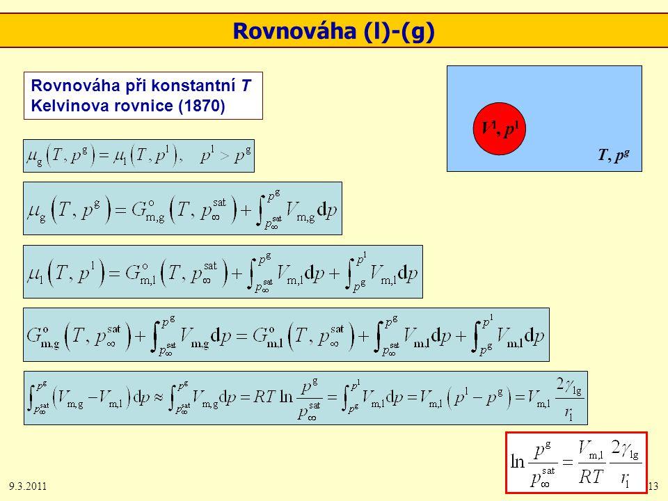 9.3.201113 Rovnováha při konstantní T Kelvinova rovnice (1870) Vl, plVl, pl T, p g Rovnováha (l)-(g)