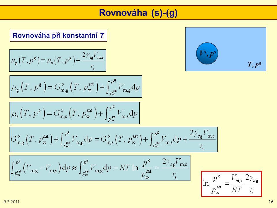 9.3.201116 Rovnováha (s)-(g) Vs, psVs, ps T, p g Rovnováha při konstantní T