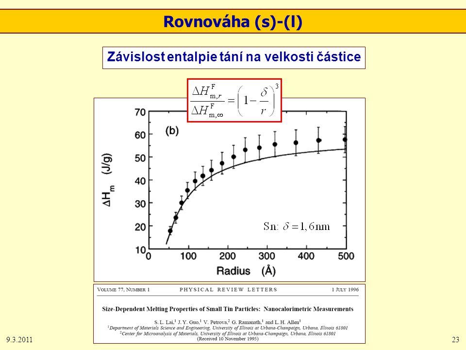 9.3.201123 Rovnováha (s)-(l) Závislost entalpie tání na velkosti částice