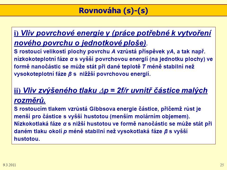9.3.201125 Rovnováha (s)-(s) i) Vliv povrchové energie γ (práce potřebné k vytvoření nového povrchu o jednotkové ploše).