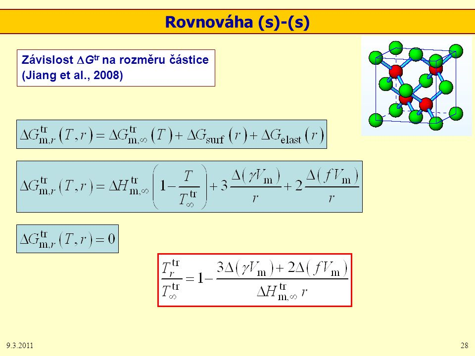 9.3.201128 Závislost  G tr na rozměru částice (Jiang et al., 2008) Rovnováha (s)-(s)