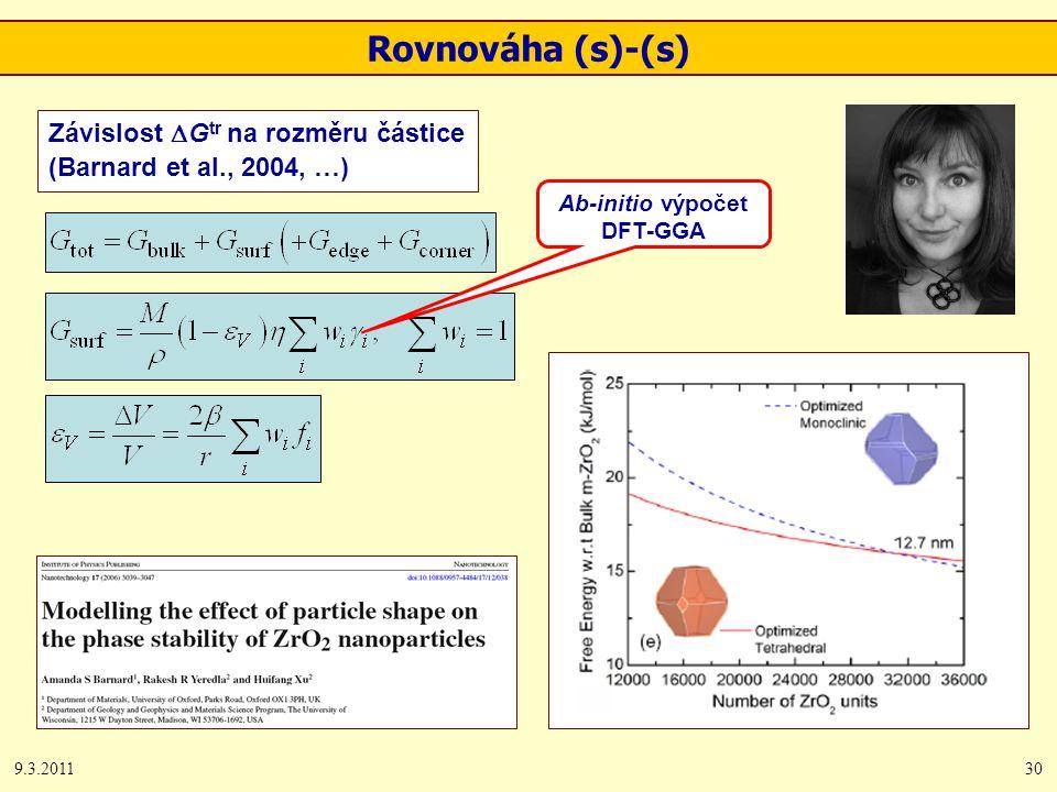 9.3.201130 Závislost  G tr na rozměru částice (Barnard et al., 2004, …) Rovnováha (s)-(s) Ab-initio výpočet DFT-GGA