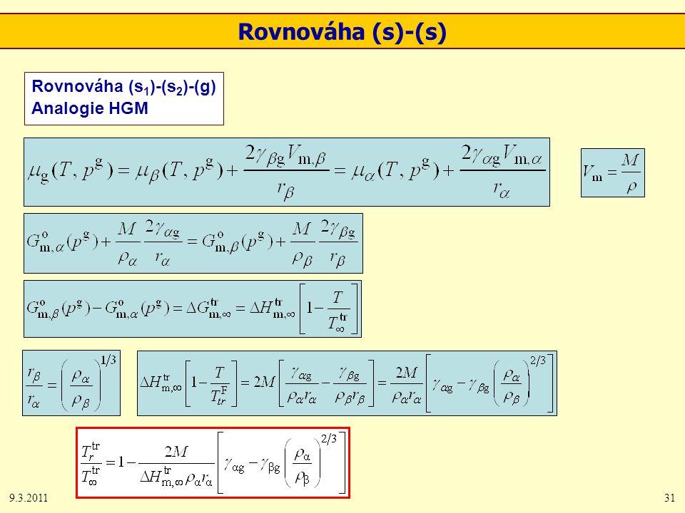 9.3.201131 Rovnováha (s 1 )-(s 2 )-(g) Analogie HGM Rovnováha (s)-(s)