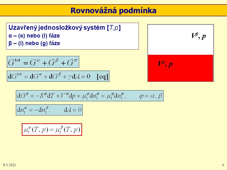 9.3.20114 Rovnovážná podmínka Uzavřený jednosložkový systém [T,p ] α – (s) nebo (l) fáze β – (l) nebo (g) fáze V β, p Vα, pVα, p