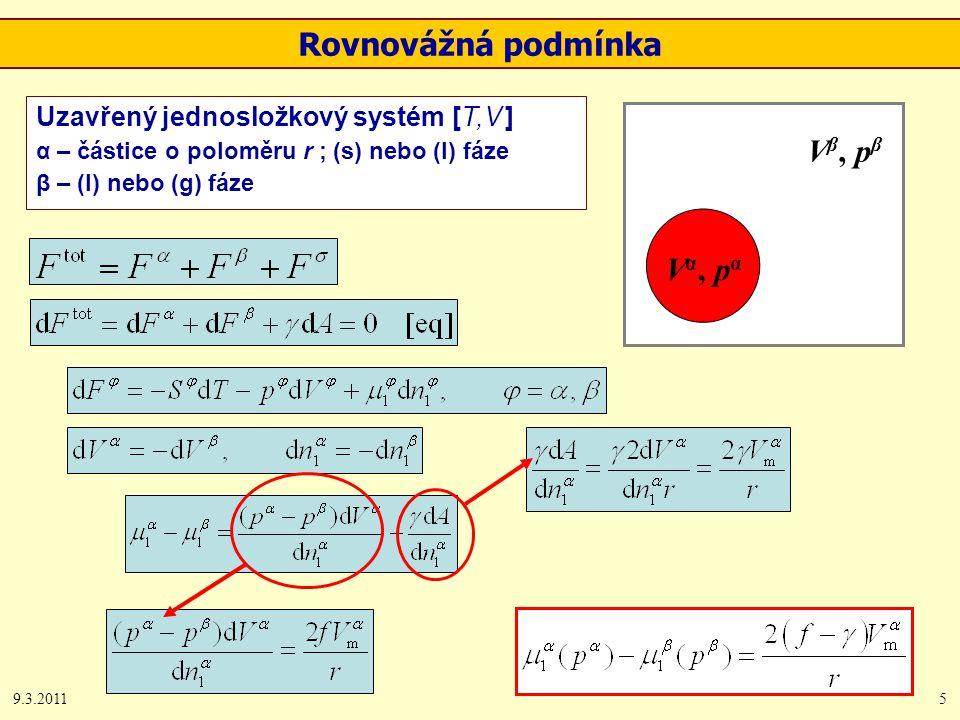 9.3.20115 Rovnovážná podmínka Vα, pαVα, pα V β, p β Uzavřený jednosložkový systém [T,V ] α – částice o poloměru r ; (s) nebo (l) fáze β – (l) nebo (g) fáze